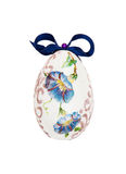 Beautiful painted Easter egg with blue bow Royalty Free Stock Photo