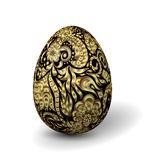 Beautiful painted easter egg on white background. 3D effect, shadow Golden ornate floral pattern on black egg. Stock Photo
