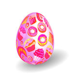 Beautiful painted easter egg on white background. 3D effect, shadow. Hand drawing bright pink yellow bakery products on pink egg Stock Photos