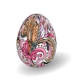 Beautiful painted easter egg on white background. 3D effect, shadow. Hand drawing doodle flowers on white egg Royalty Free Stock Photo