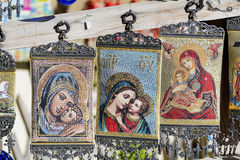 Beautiful painted hanging greek icons Stock Photography