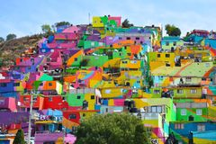 Colorful houses Pachuca Mexico. Beautiful painted houses in Pachuca Hidalgo in Mexico, bright and colorful royalty free stock photography