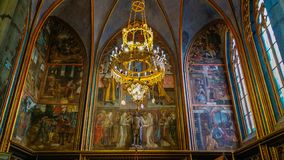 Beautiful painted at the interior of Saint Vitus cathedral in the castle of Prague royalty free stock photos