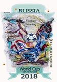 Beautiful painted Logo on the football theme. royalty free illustration