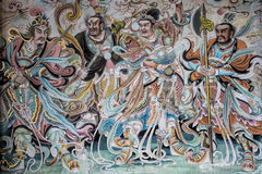 Beautiful painted mural at the Qingyang Temple in Chengdu China Royalty Free Stock Photo