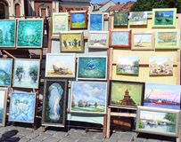 Beautiful painted pictures on street sale, Lithuania Stock Photo