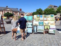 Beautiful painted pictures on street sale , Lithuania Royalty Free Stock Photo