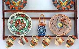 Pottery. Beautiful painted traditional pottery from Romania Royalty Free Stock Photography