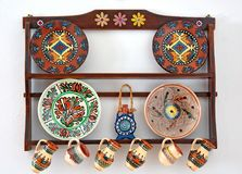 Pottery. Beautiful painted traditional pottery from Romania Stock Photos