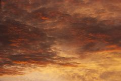 Dramatic Sunset Sky and Clouds. Royalty Free Stock Photo
