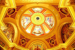 Beautiful painting on the ceiling at the Venetian Hotel, Macao. Beautiful painting at the Venetian Hotel, Macao - The famous and luxury hotel and casino resort Royalty Free Stock Images