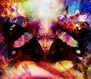 Beautiful Painting Goddess Woman with bird phoenix Stock Photo