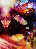 Beautiful Painting Goddess Woman with bird phoenix Royalty Free Stock Image