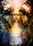 Beautiful Painting Goddess Woman with bird phoenix Stock Photography