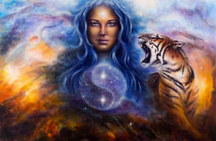 Beautiful painting oil on canvas of a female goddess lada guard. A beautiful painting oil on canvas of a female goddess lada guarding a sacred balance with a Royalty Free Stock Photography