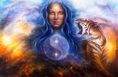 Beautiful painting oil on canvas of a woman guarding a sacred ba. A beautiful painting oil on canvas of a female goddess lada guarding a sacred balance with a Stock Images