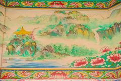 Beautiful painting pattern on the ceiling shrine in chinese style. Imitation of chinese ceiling painting. Abstract pattern painted royalty free stock images