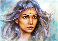 Beautiful painting portrait of a young enchanting woman warrior. Beautiful airbrush painting portrait of a young enchanting woman warrior with white silver hair Royalty Free Stock Photo