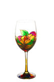 Beautiful painting stained glass  of wine glass Stock Photos