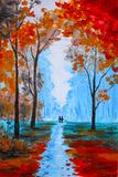 Beautiful painting, watercolor paint beautiful autumn in the forest royalty free illustration