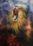 Beautiful painting of a wild roaring lion emerging from a mystical background Stock Photography