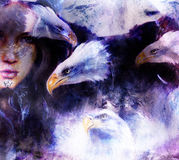 Beautiful painting Woman  with a flying eagle beautiful painting illustration collage. Stock Photos