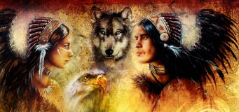 Beautiful painting of an young indian man and woman  accompanied Stock Photo