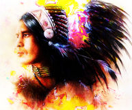Beautiful painting of a young indian warrior Royalty Free Stock Photography