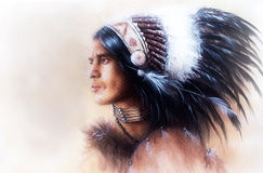 Beautiful painting of a young indian warrior wearing illustration stock photos