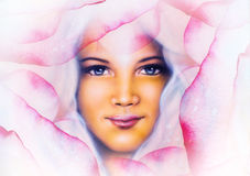 Beautiful  painting of a young woman angelic face with blue eye. On abstract  rose flower background, pink colored Royalty Free Stock Images