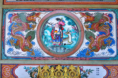 Beautiful paintings at Chinese shrine in Thailand Stock Photo