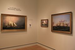 Beautiful paintings of historic ships on the sea,Peabody Essex Museum, Salem, Mass, 2017 Stock Photos