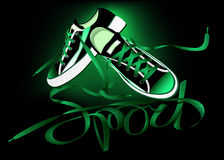 Beautiful pair of green sneakers Royalty Free Stock Photography