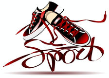 Beautiful pair of red sneakers Royalty Free Stock Images