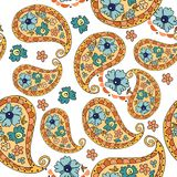 Beautiful paisley seamless pattern with flowers. Royalty Free Stock Image