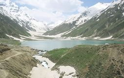 Beautiful Pakistan lake safulmaluk in kaghan Naran royalty free stock image