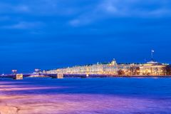 Beautiful Palace Bridge on Neva River in Saint Petersburg in Russia between Palace Square and Vasilievsky Island in winter time. View on the Winter Palace stock image