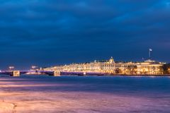 Beautiful Palace Bridge on Neva River in Saint Petersburg in Russia between Palace Square and Vasilievsky Island in winter time. View on the Winter Palace stock photo