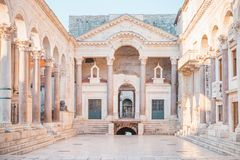 Ancient palace built for the Roman Emperor Diocletian - Split, Croatia. Beautiful palace built for the Roman Emperor Diocletian - Split, Croatia royalty free stock photos