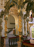 Beautiful palace like interior. Walnut columns marble and bronze decoration of this opulent interior. A luxurious place Stock Photos