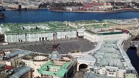 Beautiful Palace square near Neva river, aerial view in Saint Petersburg, Russia. Palace Square and Alexander Column