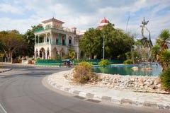 Beautiful Palacio de Valle in Cienfuegos near Jagua Hotel,Cuba. Cienfuegos, Cuba - January 28, 2017: Beautiful Palacio de Valle in Cienfuegos,Cuba.Palacio de Stock Images