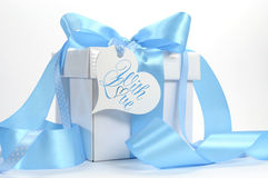 Beautiful pale aqua baby blue gift stock photo