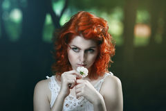 Beautiful pale vampire with red hair royalty free stock images
