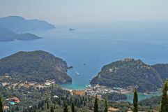 Beautiful Paleokastritsa from another view in Greece. Beautiful blue sea, bay, coast and the horizon in Paleokastritsa, Corfu - Greece Stock Photo