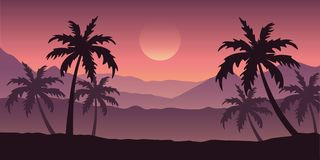 Beautiful palm tree silhouette landscape in purple colors royalty free illustration