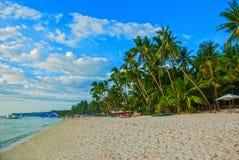 Beautiful palm trees on the White beach. Boracay island, Philippines Stock Photos