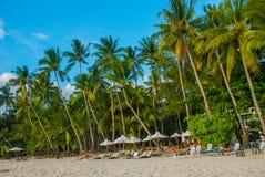 Beautiful palm trees on the White beach. Boracay island, Philippines Royalty Free Stock Photos