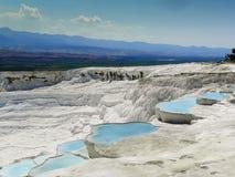 Beautiful Pamukkale travertine terraces Stock Images