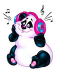 Beautiful Panda loves music cartoon Royalty Free Stock Photography